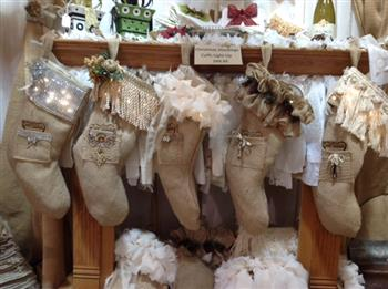 Burlap Christmas Stockings.Unique Handmade Burlap Christmas Stockings